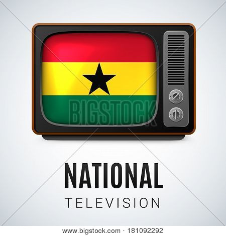 Vintage TV and Flag of Ghana as Symbol National Television. Button with Ghanaian flag