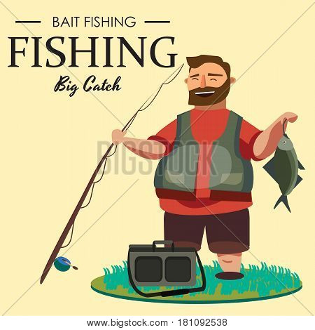 Happy fisherman stands and holds in hand fishing rod with spinning and fish catch, bag with fishman spin and equipment, funny cartoon vector illustration, Mans active vacation banner or Flyer concept.