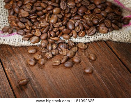 Coffee Grain In A Bag On A Rural Table