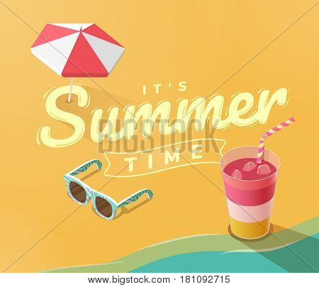 Summer vacation template with beach sea summer accessories drink and sun glasses vector illustration