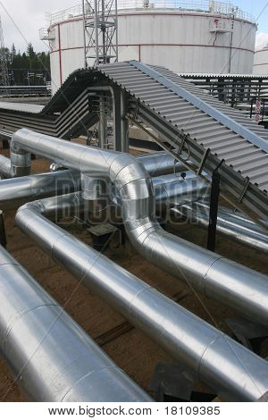 Pipes on the oil mill