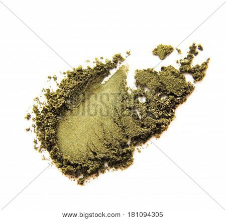 Green khaki crushed eye shadow isolated on white background.