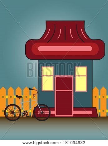 Suburban House Front View Building and bicycle with wooden fence. Vector cartoon illustration.