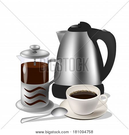 Vector illustration of coffe set. Kettle, french press and cup with spoon. Isolated on the white background