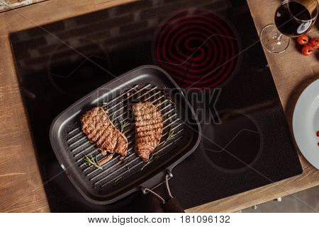 Grilled Steaks In Frying Pan