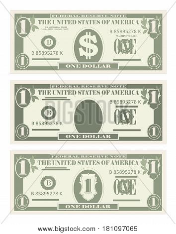 Money, paper banknotes one dollar green color.  Vector in simple, flat style in three variants. Isolated on white background. Usa banking currency, cash symbol 1 dollar bill. Vertical location.