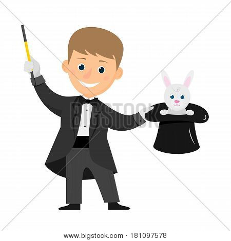 Magician with hat and magic wand. Isolated on white background. Flat style. Vector illustration