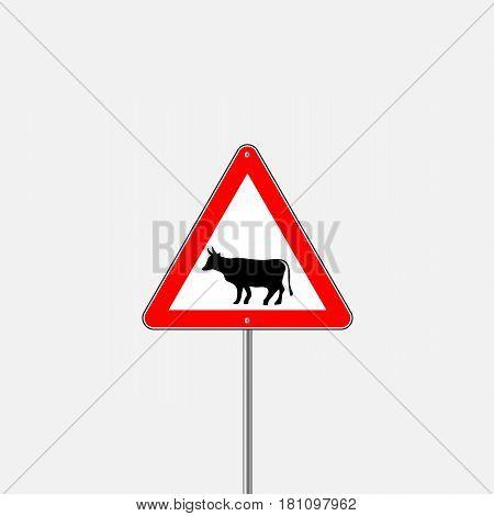 Cow Warning sign red. Farm Hazard attention symbol. Danger road sign