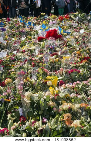 STOCKHOLM, SWEDEN - April 09, 2017:Floral Tributes in Stockholm,  truck attack