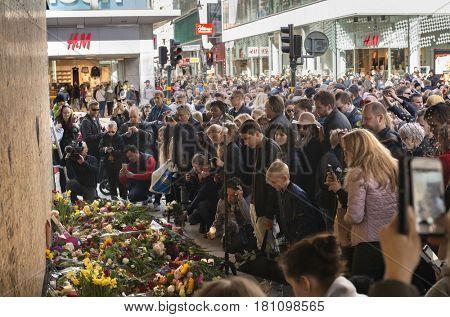 STOCKHOLM, SWEDEN - April 09, 2017:Floral Tributes in Stockholm,   truck attack in central Stockholm