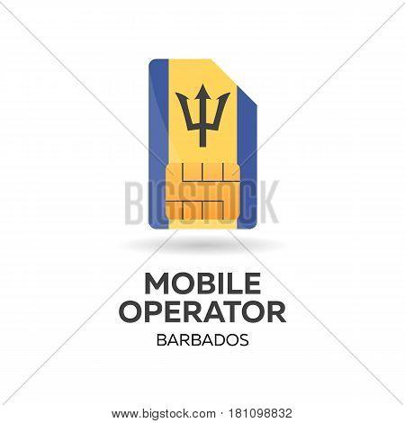 Barbados Mobile Operator. Sim Card With Flag. Vector Illustration.