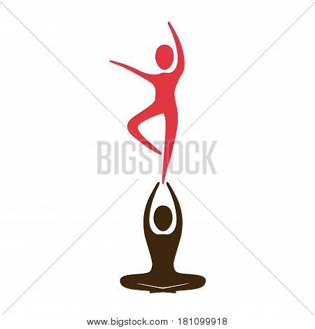 silhouette with couple dancer pirouette in one foot vector illustration