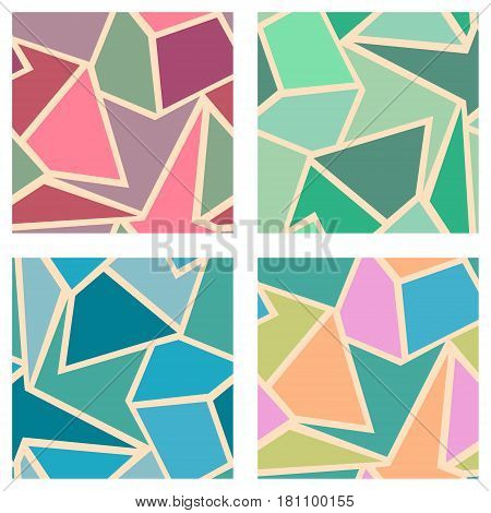 Set Of Seamless Vector Geometric Patterns. Background With Triangles In Pastel Pink, Blue, Green Col
