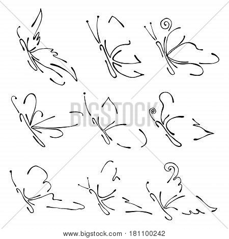 Set Of Vector Black And White Illustration Of Insect. Butterflies Isolated On The White Background.