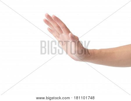 Hand stop gesture on white background .