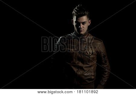 Handsome Man Posing In Brown, Leather Jacket