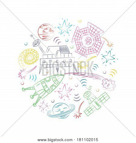 Colorful Hand Drawn Doodle Spaceships Rockets Falling Stars Planets and Comets Arranged in a Circle. Sketch Style. Vector Illustration.