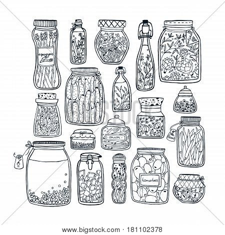 Set of pickled jars with vegetables, fruits, herbs and berries on shelves. Autumn marinated food. Contour Illustration