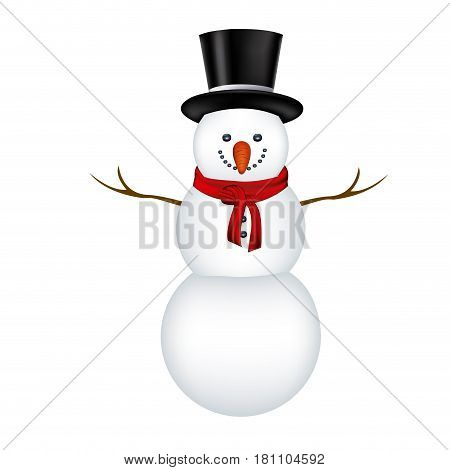big snowman with black hat and scarf in white background vector illustration