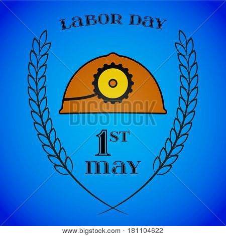 May Day. May 1st. Labor Day background with mine helmet and wheat ears over blue. Poster, greeting card or brochure template, symbol of work and labor, vector icon