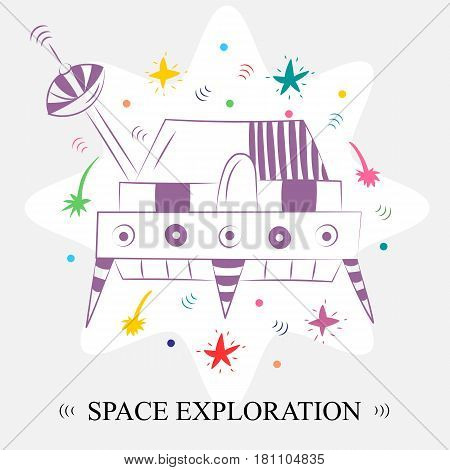 Painted Hand Drawn Doodle Spaceship and Comets Arranged in a Circle. Space Exploration. Vector Illustration.