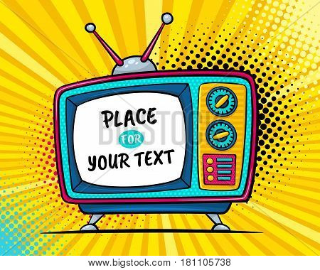 Hand drawn comic retro TV set with place for your text on screen on halftone and dots. Vector colorful background in pop art retro comic style.