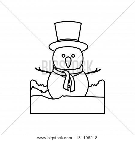 monochrome contour landscape with snowman with hat and scarf vector illustration