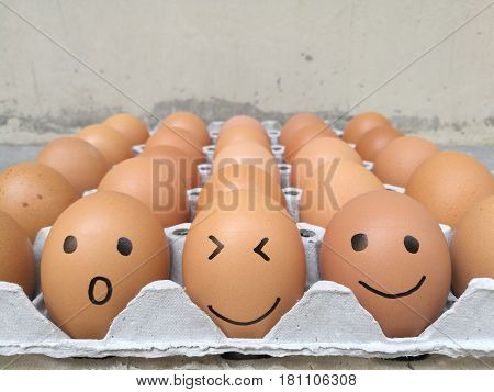 Dozen of chicken egg for cooking breakfast in the egg storage tray with blur background, Easter egg for hiding, Easter egg surprise happy and smile face in a row, closed up