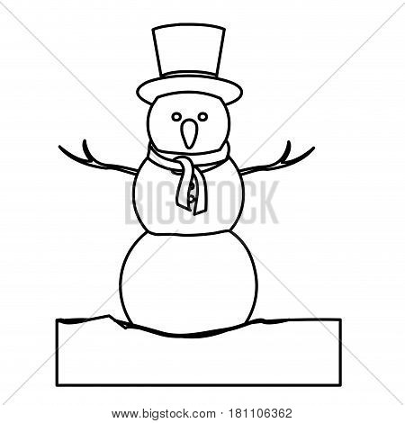 monochrome contour with snowman in ice block with hat and scarf vector illustration