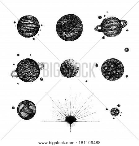 Set of various isolated solar system planets in vintage dotwork style. Hand drawn illustration on white background