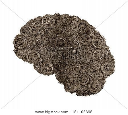 Human brain build out of gears saturated in warm gray tones with texture on white background (concept)