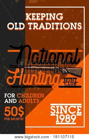 Color vintage hunting club banner. Vector illustration, EPS 10
