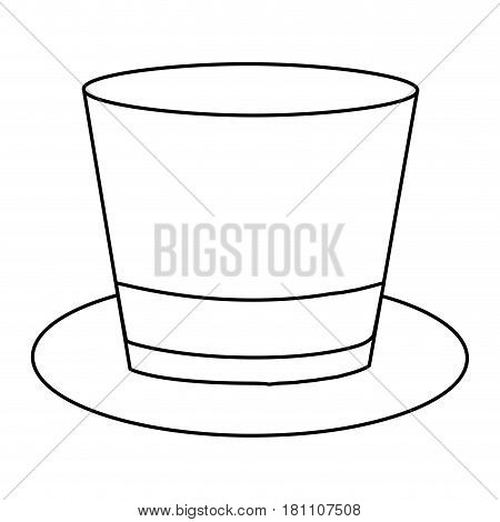 monochrome contour of top hat with ribbon in frontal view vector illustration