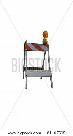 construction barrier orange and white wood and metal clipping path isolated white