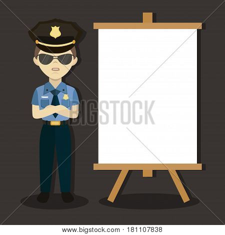 Policeman In American Cop Uniform. Vector illustration, EPS 10