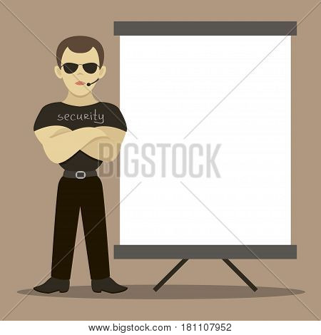 Security man standing in front of signboards. Vector illustration, EPS 10