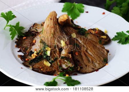 .Fried Oyster mushrooms with garlic, parsley and balsamic glaze in a white plate on a black abstract background. Healthy concept.