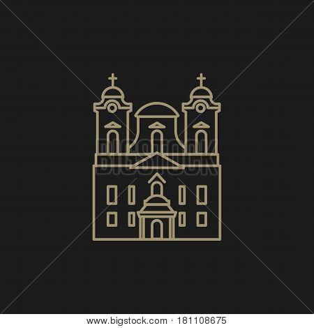 Illustration of a roman catholic church that can be used as logo symbol or as isolated design element