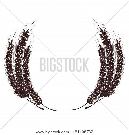 Wheat spike in the form of a coat of arms. Isolated on white background.