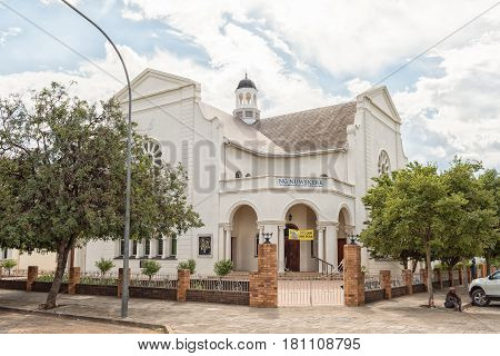 GRAAFF REINET SOUTH AFRICA - MARCH 22 2017: The Nuwe Kerk (new Dutch Reformed Church) in Graaff Reinet in the Eastern Cape Province