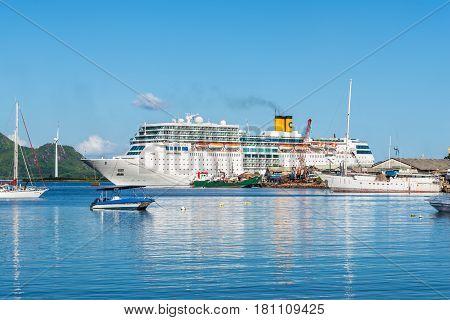 Victoria Mahe Island Seychelles - December 16 2015: Costa Neoromantica Cruise ship anchored at Victoria port Mahe Island Seychelles Indian Ocean Eastern Africa.