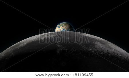 Planet Earth rising over the Moon horizon partially visible on a black background. Digital 3D illustration. Elements of this illustration are furnished by NASA.