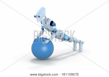 3d render of a robot doing push ups using an exercise ball against a white background.
