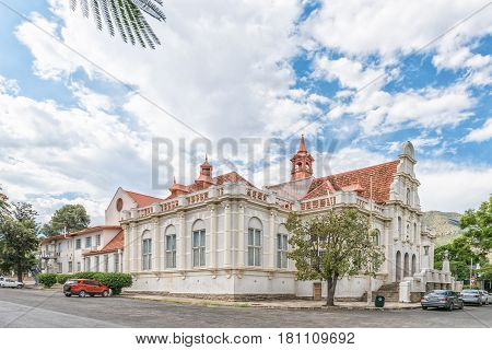 GRAAFF REINET SOUTH AFRICA - MARCH 22 2017: The historic town hall in Graaff Reinet a town with more than 200 buildings declared as a national monument