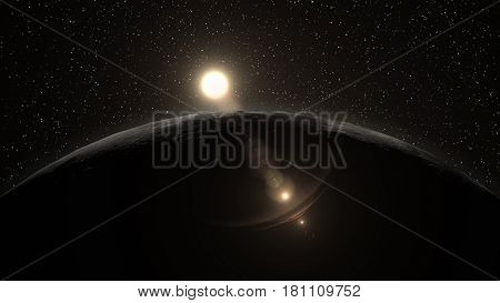 Sunrise over the Moon horizon, a low hanging sun lighting the Moon surface slightly. Elements of this 3d illustration are furnished by NASA.