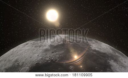 Sunrise over the Moon horizon, with the sun fully lighting the Moon surface. Elements of this 3d illustration are furnished by NASA.