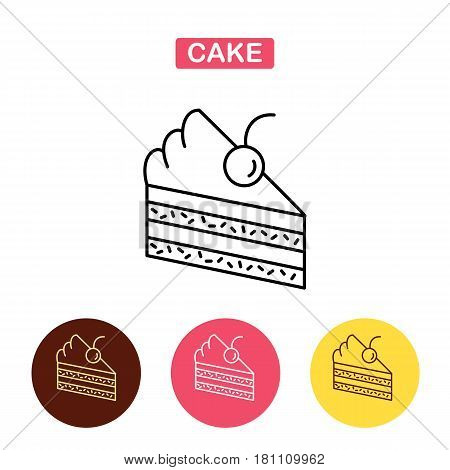 Piece of cake  line icon.  Flat vector illustration.  Graphic piece of birthday cake. icon for confectionery shop or cafe.