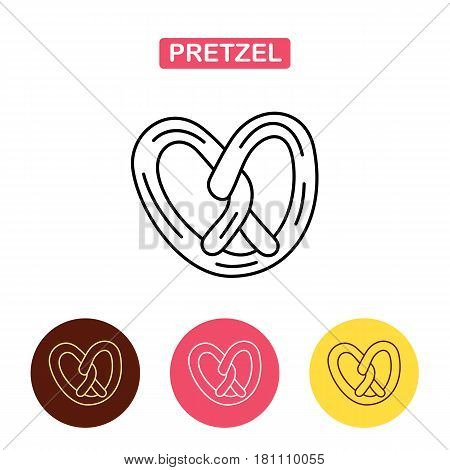 Pretzels icon in line style isolated. Bagel Icon.  . Oktoberfest symbol stock vector illustration. Bakery products image.