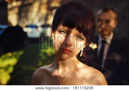 Tree's Shadow Lies On A Beautiful Bride's Face