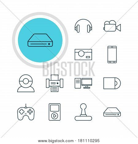 Vector Illustration Of 12 Accessory Icons. Editable Pack Of Joypad, Headset, Media Controller And Other Elements.